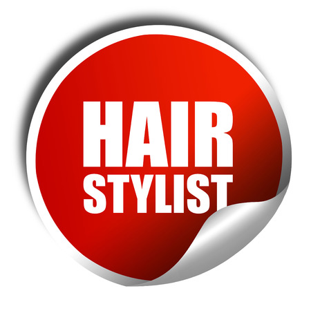 hair stylist: hair stylist, 3D rendering, a red shiny sticker