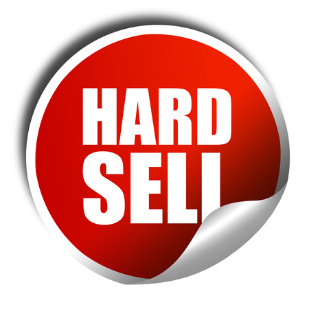 hard sell, 3D rendering, a red shiny sticker Stock Photo