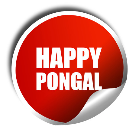 pongal: happy pongal, 3D rendering, a red shiny sticker Stock Photo