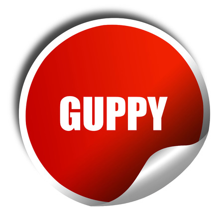 isolation tank: guppy, 3D rendering, a red shiny sticker