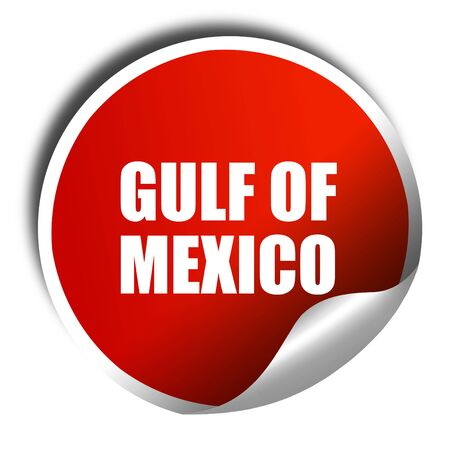 gulf of mexico: gulf of mexico, 3D rendering, a red shiny sticker Stock Photo