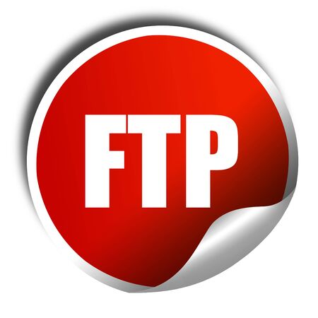 ftp servers: ftp, 3D rendering, a red shiny sticker