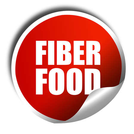 fiber food: fiber food, 3D rendering, a red shiny sticker
