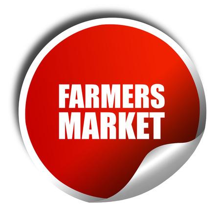 vegetabilis: farmers market, 3D rendering, a red shiny sticker
