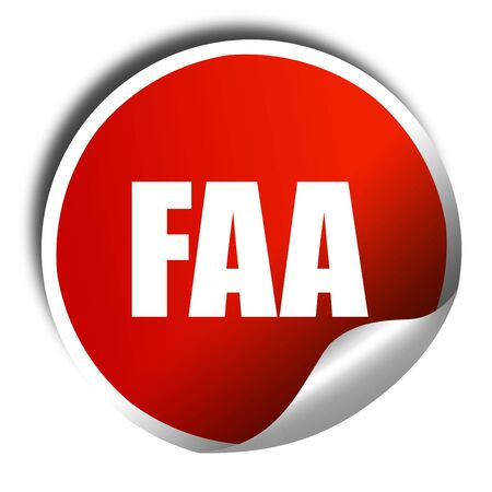 faa: faa, 3D rendering, a red shiny sticker