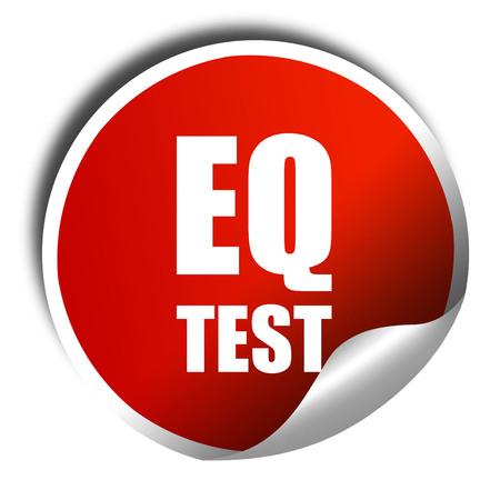 eq: eq test, 3D rendering, a red shiny sticker