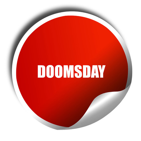 doomsday: doomsday, 3D rendering, a red shiny sticker