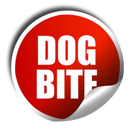 dog bite: dog bite, 3D rendering, a red shiny sticker