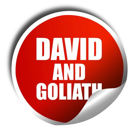 david and goliath: david and goliath, 3D rendering, a red shiny sticker Stock Photo