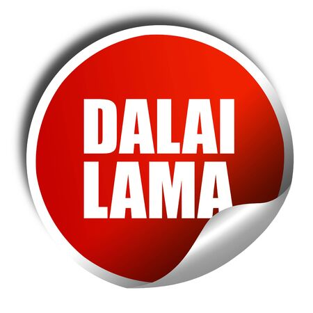 holiness: dalai lama, 3D rendering, a red shiny sticker Stock Photo