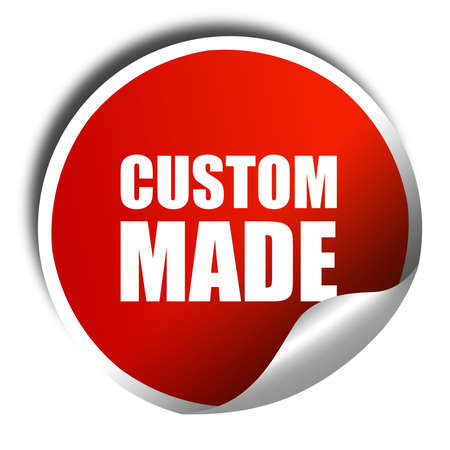 manful: custom made, 3D rendering, a red shiny sticker