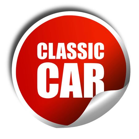 shiny car: classic car, 3D rendering, a red shiny sticker Stock Photo