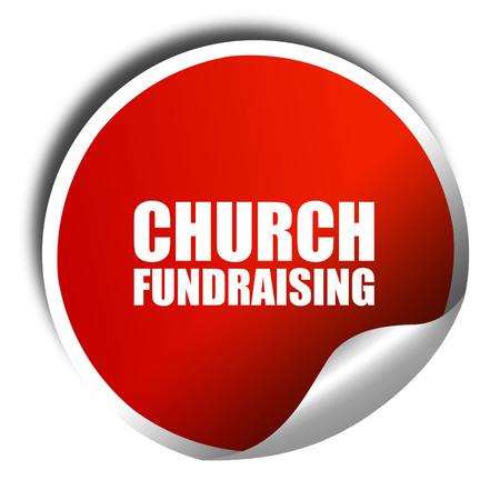 church 3d: church fundraising, 3D rendering, a red shiny sticker