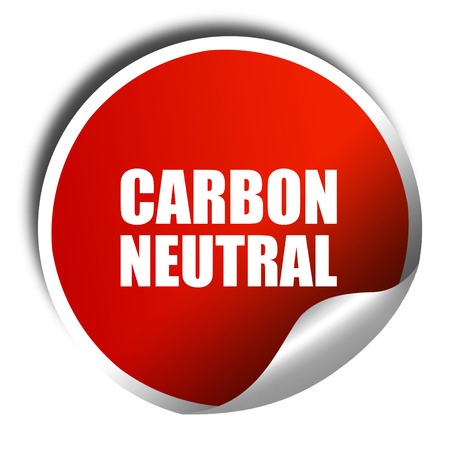 carbon neutral: carbon neutral, 3D rendering, a red shiny sticker