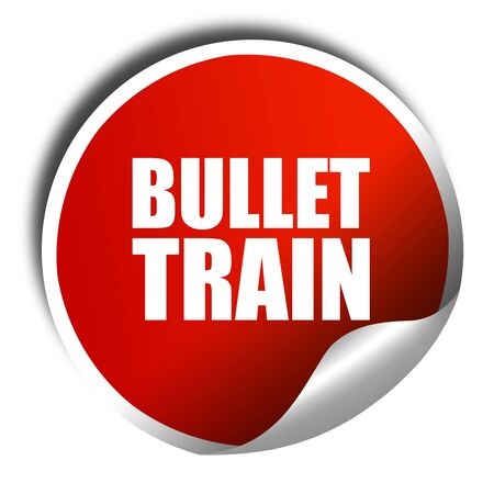 3d bullet: bullet train, 3D rendering, a red shiny sticker