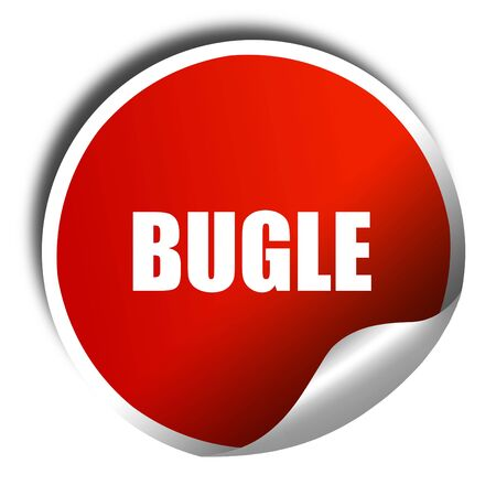 bugle: bugle, 3D rendering, a red shiny sticker Stock Photo