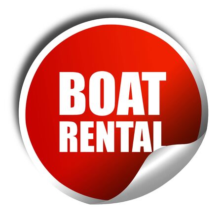 3d boat: boat rental, 3D rendering, a red shiny sticker Stock Photo