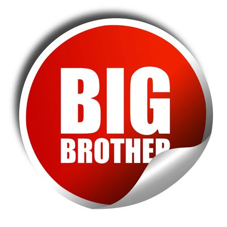 big brother: big brother, 3D rendering, a red shiny sticker