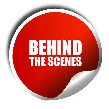 behind the scenes: behind the scenes, 3D rendering, a red shiny sticker Stock Photo