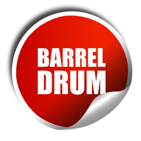 barrel drum, 3D rendering, a red shiny sticker