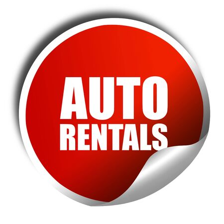 rentals: auto rentals, 3D rendering, a red shiny sticker Stock Photo