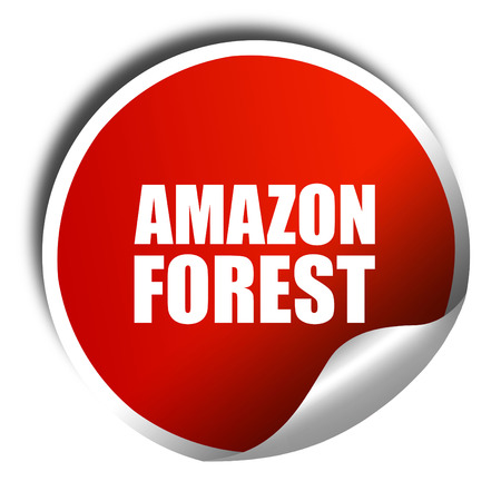 amazon forest: amazon forest, 3D rendering, a red shiny sticker
