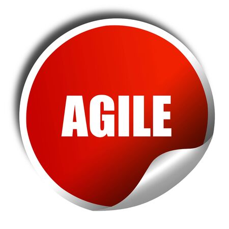 agile: agile, 3D rendering, a red shiny sticker Stock Photo