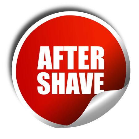 aftershave: aftershave, 3D rendering, a red shiny sticker