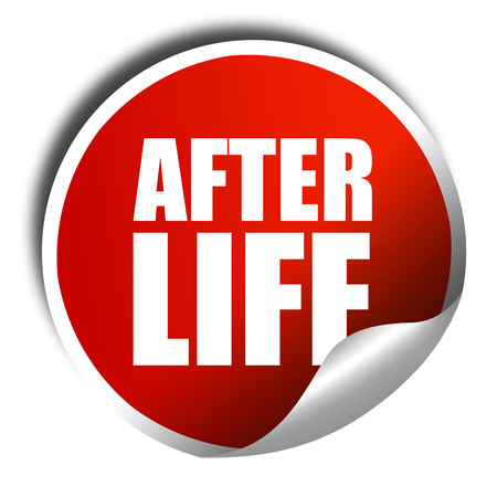 hereafter: afterlife, 3D rendering, a red shiny sticker