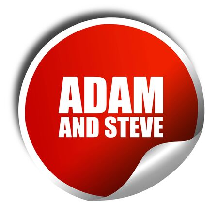 steve: adam and steve, 3D rendering, a red shiny sticker