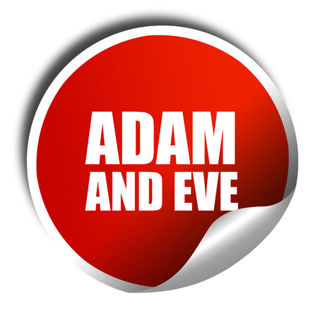 adam and eve: adam and eve, 3D rendering, a red shiny sticker