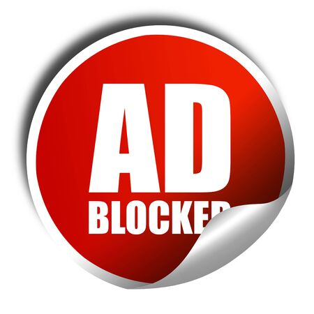 inhibition: ad blocker, 3D rendering, a red shiny sticker Stock Photo