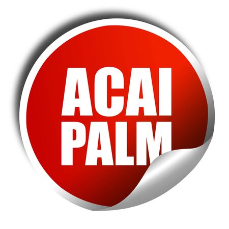 acai: acai palm, 3D rendering, a red shiny sticker