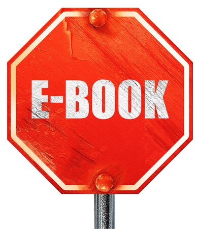 databank: e-book, 3D rendering, a red stop sign
