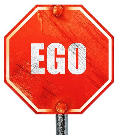 ego: ego, 3D rendering, a red stop sign
