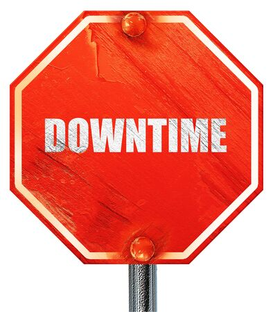 downtime: downtime, 3D rendering, a red stop sign