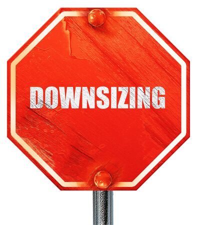 downsizing: downsizing, 3D rendering, a red stop sign Stock Photo