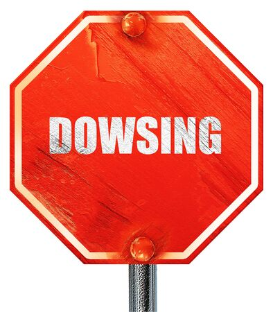 dowsing, 3D rendering, a red stop sign