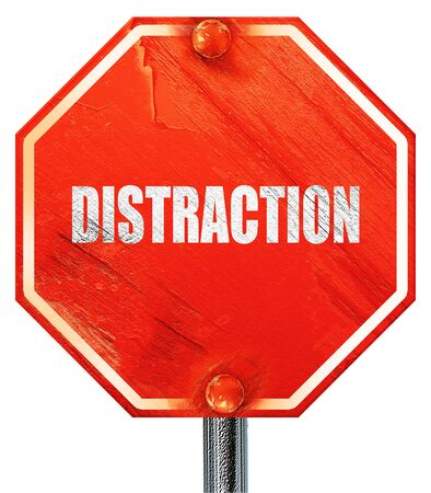 interruption: distraction, 3D rendering, a red stop sign