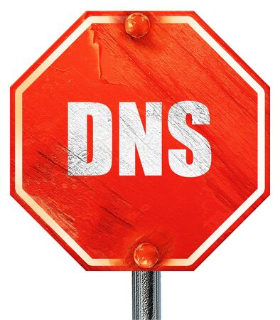 dns: dns, 3D rendering, a red stop sign