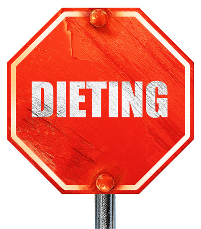 dieting, 3D rendering, a red stop sign