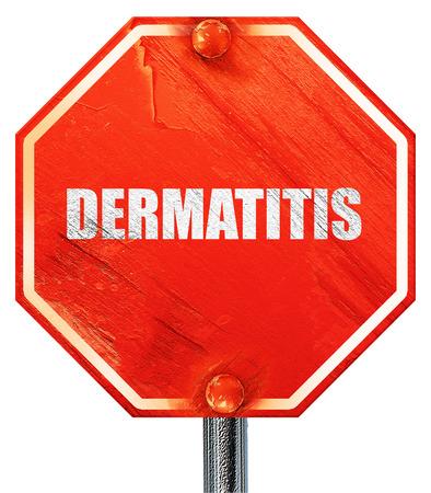 dermatitis: dermatitis, 3D rendering, a red stop sign