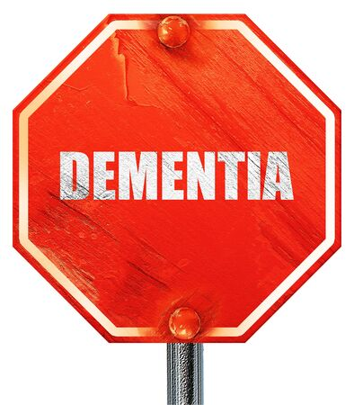 brain aging: dementia, 3D rendering, a red stop sign Stock Photo