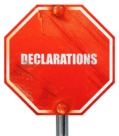 declare: declarations, 3D rendering, a red stop sign