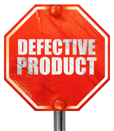 defective: defective product, 3D rendering, a red stop sign