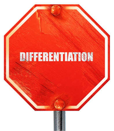 differentiation: differentiation, 3D rendering, a red stop sign