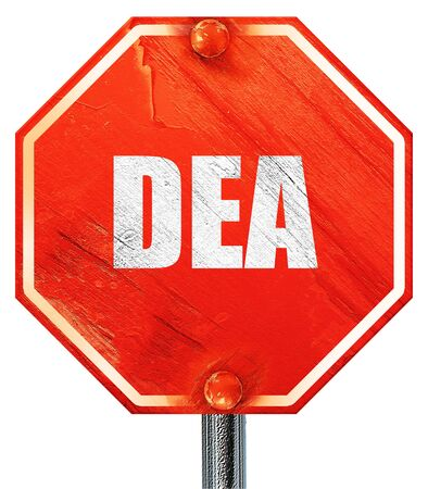 unlawful act: dea, 3D rendering, a red stop sign