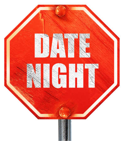 date night, 3D rendering, a red stop sign