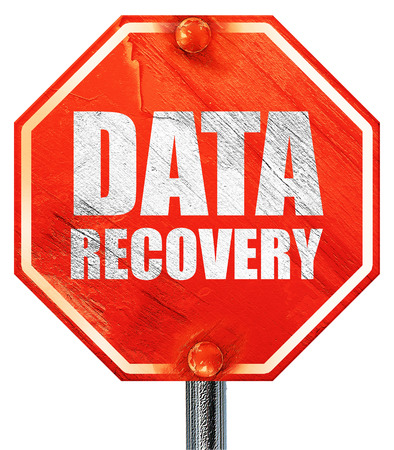 data recovery: data recovery, 3D rendering, a red stop sign Stock Photo