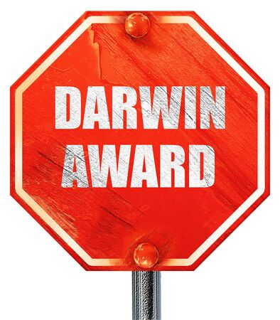 nominated: darwin award, 3D rendering, a red stop sign
